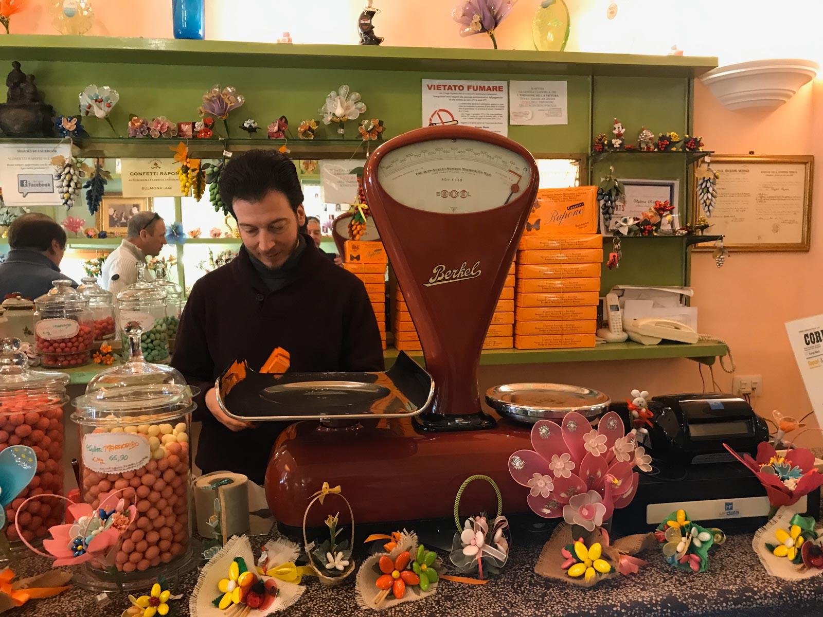 Confetti shop in Sulmona, Italy.