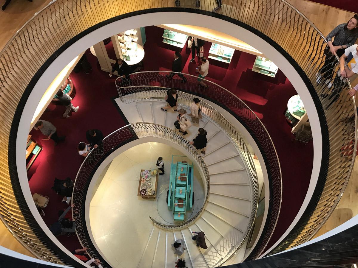 Fortnum & Mason - spiral  stairs.