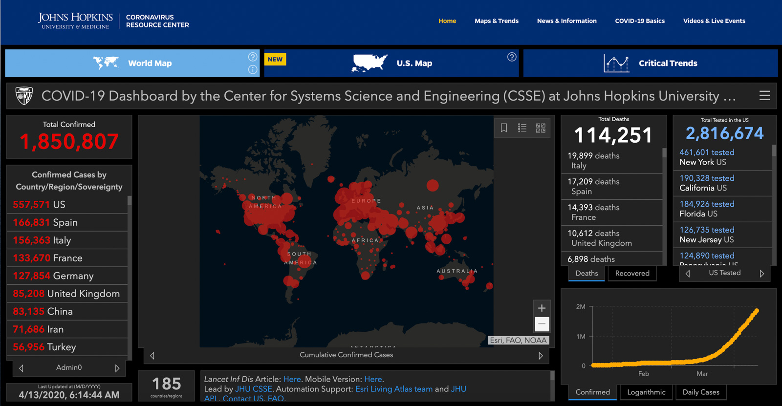 Click through to John Hopkins CSSE for the latest dashboard update.